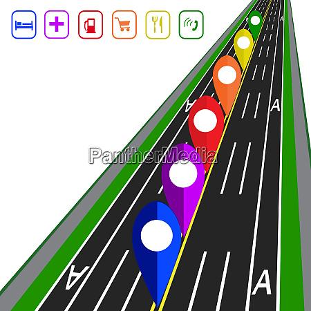 road infographics gps navigator direct road