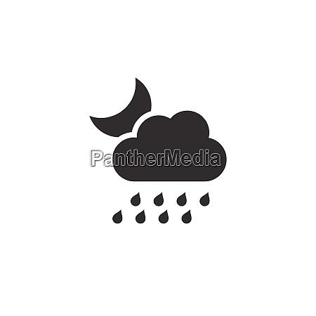 heavy rain cloud and moon icon