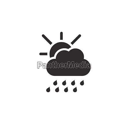 heavy rain cloud and sun icon