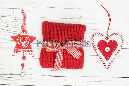 scandi style christmas still life red