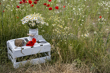 wildflower still life with wooden crate