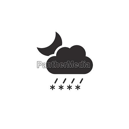 sleet cloud and moon icon night