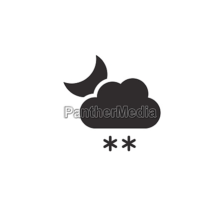 snow cloud and moon icon night