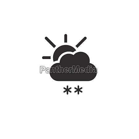 snow cloud and sun icon weather