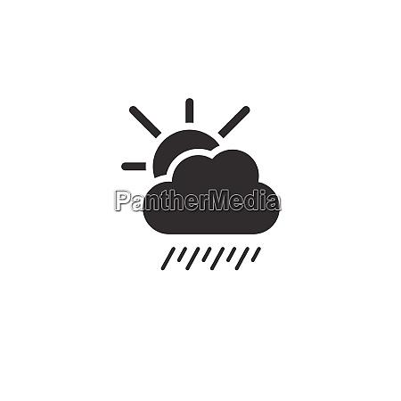 soft rain cloud and sun icon