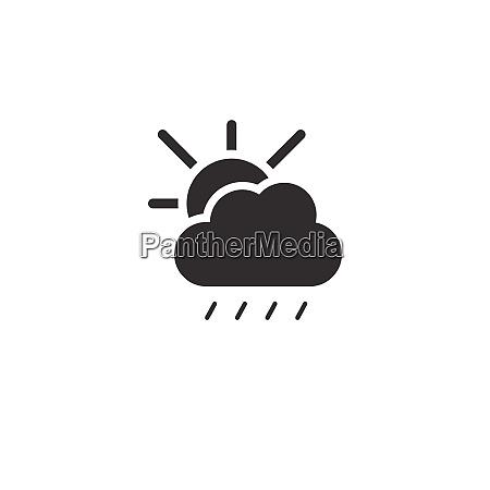 soft rain sun and cloud icon