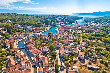 hvar old town of vrboska aerial