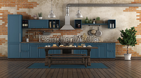 classic style blue kitchen in a