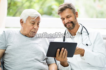 home care elder patient looking at