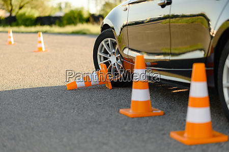 car and downed cone driving school
