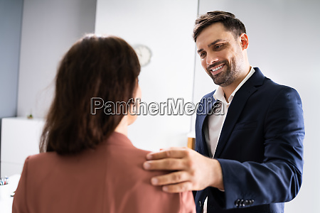 man putting his hand
