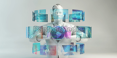 man using futuristic graphical user interface