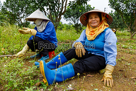 woman with straw hat are gardening