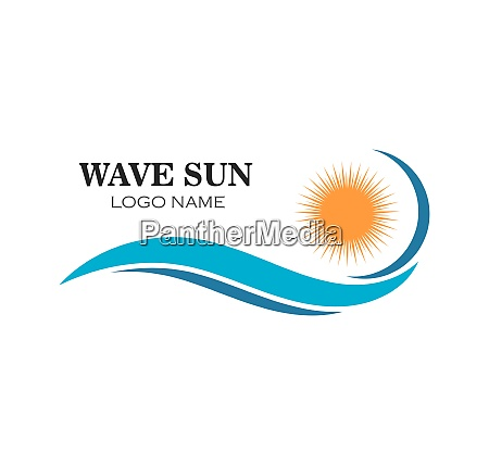 wave sun logo icon vector illustration