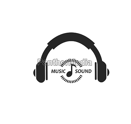 hearing music with earphone icon illustration