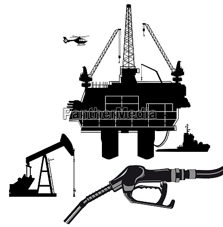 oil production with oil rig and