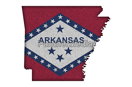 map and flag of arkansas on