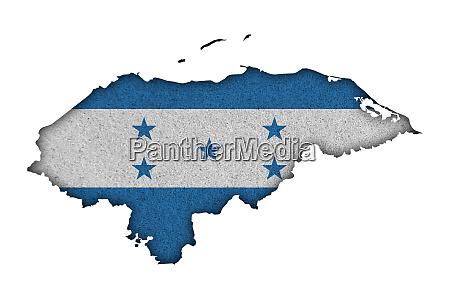 map and flag of honduras on