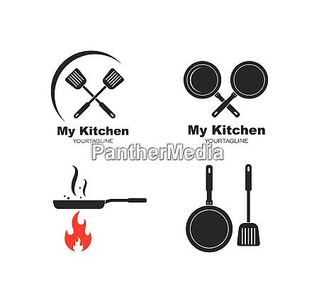 spatula and pan logo icon of
