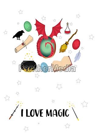 i love magic postcard with magic