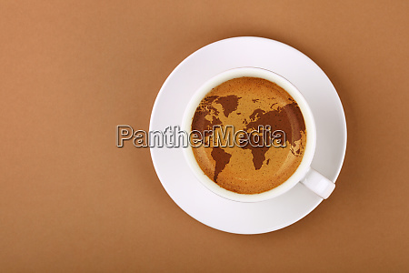 espresso coffee cup with world map