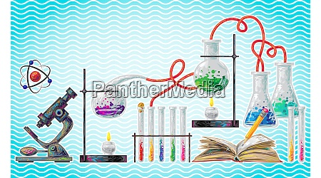 scientific laboratory element on abstract wave