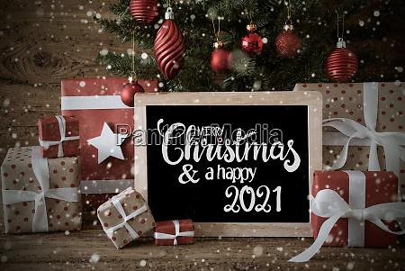 christmas tree gift snowflakes text merry