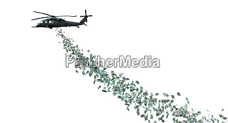 helicopter distributing money isolated on white
