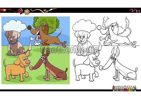 dogs and puppies characters group coloring