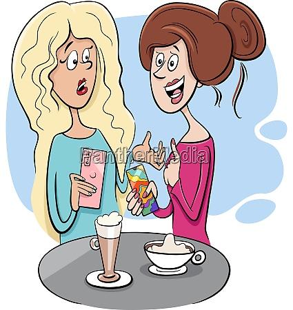 women gossip in cafe cartoon illustration