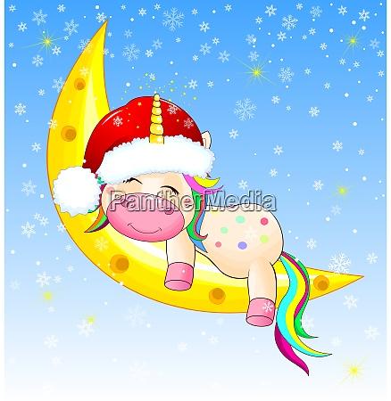 cute unicorn sleeping on the moon