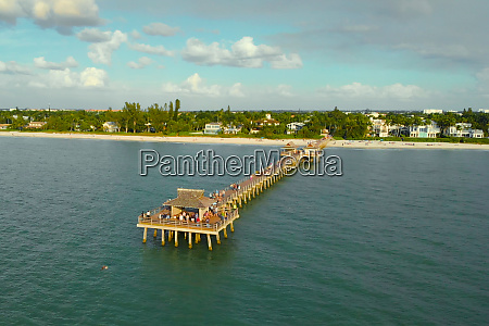 naples beach pier aerial drone photo