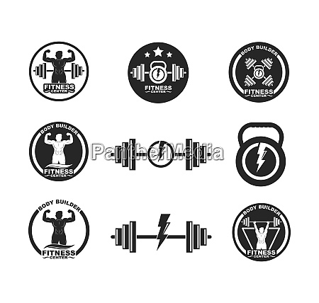 bodybuilder fitness gym icon logo badge