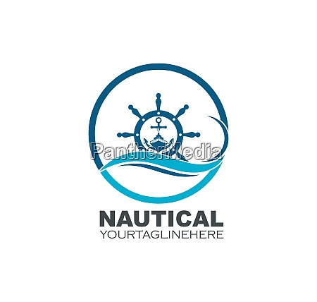 steering ship vector logo icon of