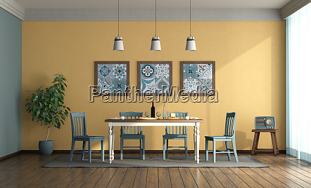 vintage style dining room with blue