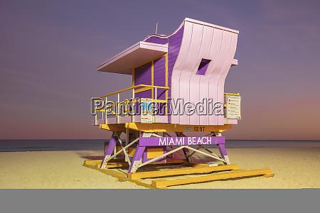usa florida miami lifeguard hut on