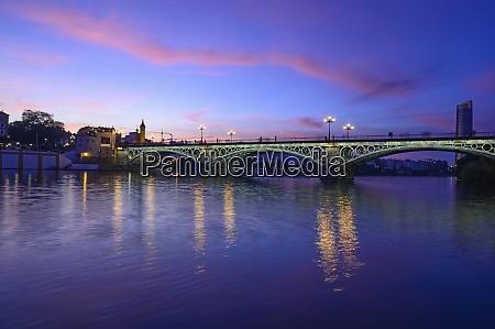 spain seville triana bridge trianabridge overguadalquivirriver