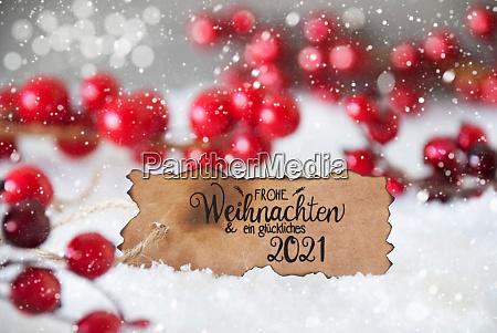red decoration snow label glueckliches 2021