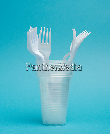 disposable plastic cups forks on a