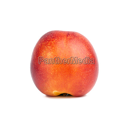 ripe round ripe nectarine isolated on