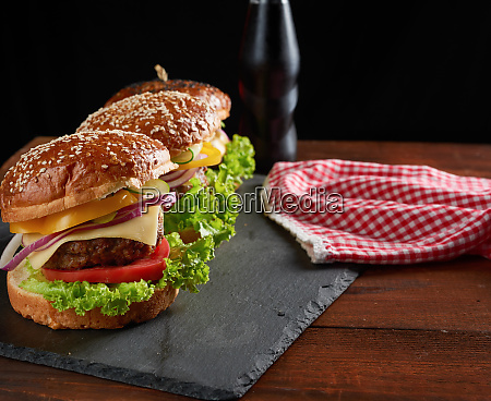 delicious burger with fried beef cutlet