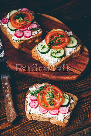 vegetarian sandwiches with fresh vegetables
