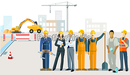 construction management with construction workers and