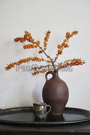 orange sea buckthorn plant in vase