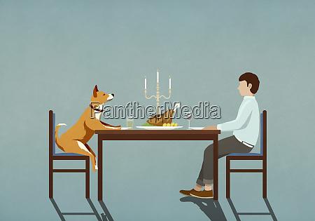 man and dog enjoying candlelight dinner