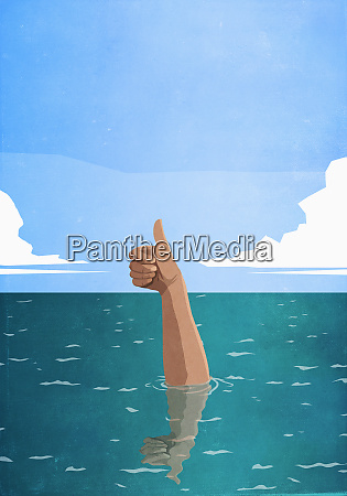 sinking hand gesturing thumbs up in