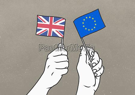 hands waving small british and european