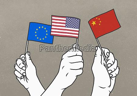 hands waving small european union american