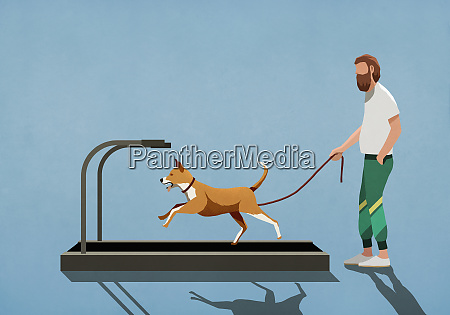 man with leash watching dog running