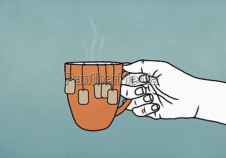 hand holding mug with many tea